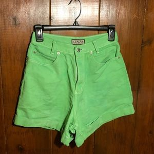 Neon Green Vintage High Waisted Shorts